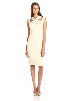 Anne Klein Women's Embellished Double Weave Crepe with Cut Away Neck Sheath Dress