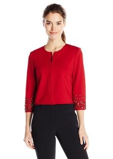 Anne Klein Women's Embellished Ponte Zip Jacket