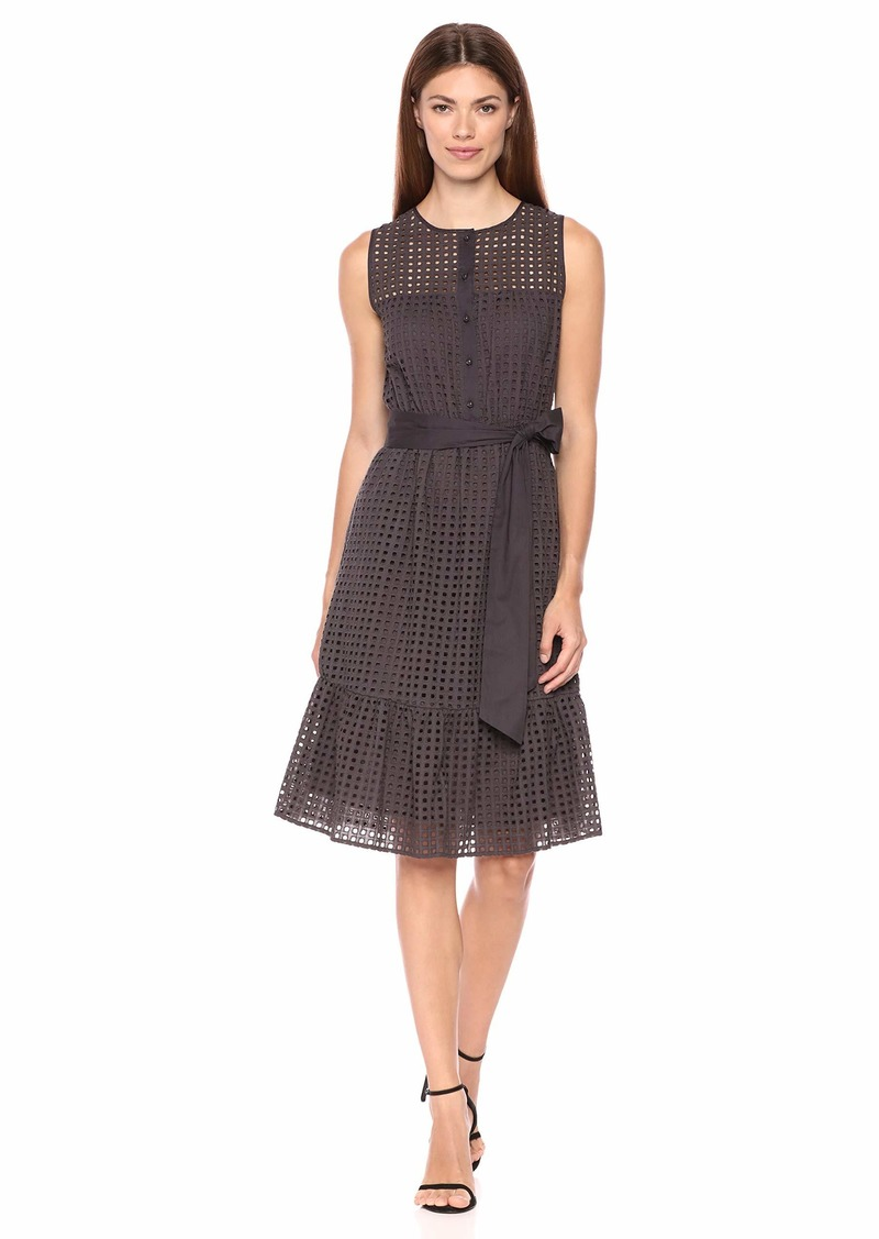 Anne Klein Women's Eyelet FIT & Flare Dress with SASH