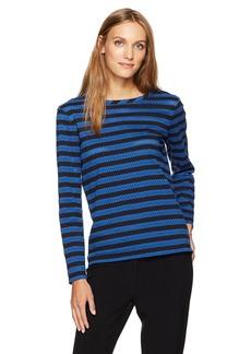 Anne Klein Women's Eyelet Striped Long Sleeve Knit  S