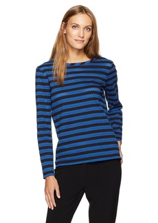 Anne Klein Women's Eyelet Striped Long Sleeve Knit  XL