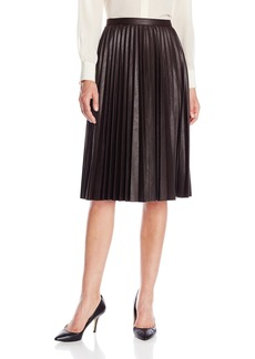 Anne Klein Women's Faux Leather Pleated Skirt