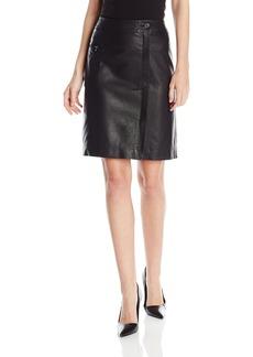 Anne Klein Women's Faux Wrap Leather Skirt