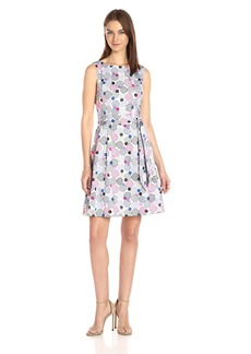 Anne Klein Women's Fit and Flare Self Belted Printed Cotton Sateen Dress