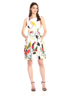 Anne Klein Women's Fit and Flare Self Sash Leave Printed Dress