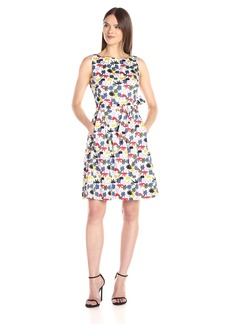 Anne Klein Women's Fit and Flare Self Sash Printed Dress