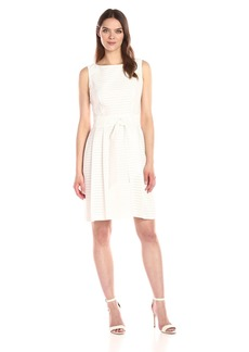 Anne Klein Women's Fit and Flare Self Sash Vertical Shadow Stripe Dress