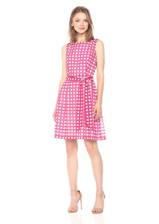 Anne Klein Women's Fit and Flare with Sash-Novelty Gingham