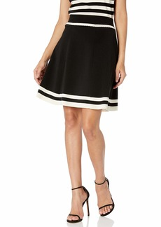Anne Klein Women's Flare Striped Knit Skirt Black/Anne White S