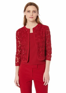 Anne Klein Women's Floral LACE MESH Cardigan Titian red