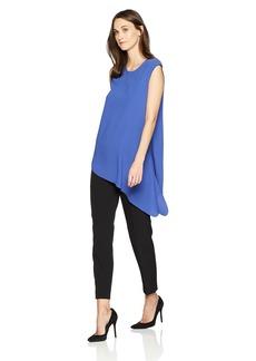 Anne Klein Women's Fluid Crepe Assymetrical Blouse O'Keefe Blue