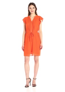 Anne Klein Women's Flutter Sleeve Pleat Front Tie Waist Dress