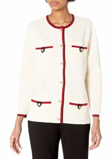 Anne Klein Women's Four Pocket Cardigan with Tipping Anne White/Titian RED