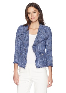 Anne Klein Women's Fringe Tweed Jacket