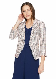 Anne Klein Women's Fringe Tweed Jacket RED/Marine Blue Combo