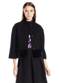 Anne Klein Women's Fur Trim Funnel Neck Jacket