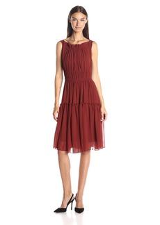 Anne Klein Women's Gathered Neckline and Skirt Chiffon Dress