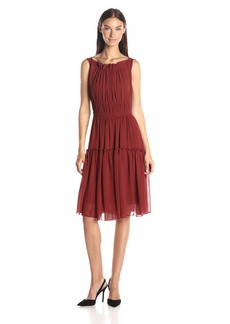 Anne Klein Women's Gathered Neckline and Skirt Chiffon Dress