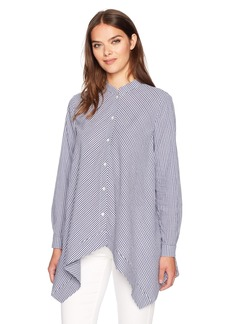 Anne Klein Women's Gingham Tunic Blouse Eton Blue/Optic White