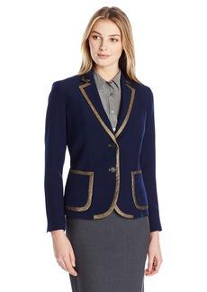 Anne Klein Women's Gold Trim Two Button Jacket