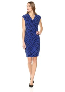 Anne Klein Women's Greenwich Tartan Printed Ity Drape Dress Okeefe Blue/Black