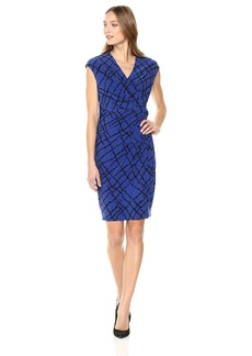 Anne Klein Women's Greenwich Tartan Printed Ity Drape Dress Okeefe Blue/Black Extra Large
