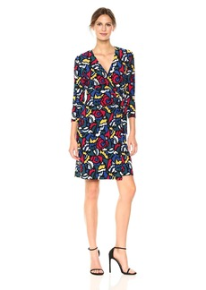 Anne Klein Women's Heather Cliff Printed Wrap Dress  L