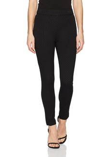 Anne Klein Women's Heather Pindot Compression Pant Black/BOLSHOI Grey