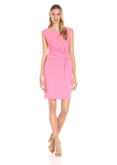 Anne Klein Women's Heavy Matte Jersey Side Twist Pleated Dress