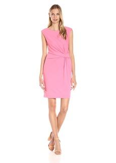 Anne Klein Women's Heavy Matte Jersey Side Twist Pleated Dress
