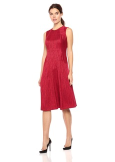 Anne Klein Women's Herringbone Jacquard Seamed Fit and Flare Dress