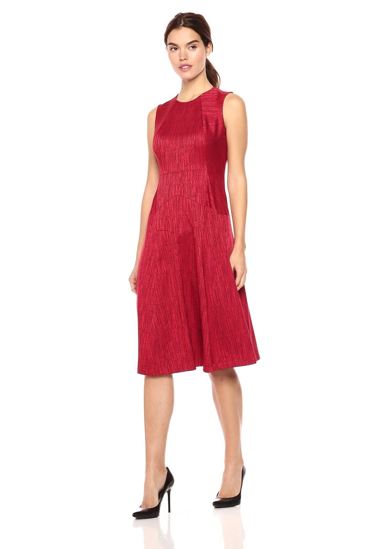 Anne Klein Women's Herringbone Jacquard Seamed Fit and Flare Dress