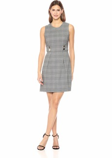 Anne Klein Women's Houndstooth Check FIT and Flare Dress