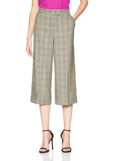 Anne Klein Women's Houndstooth Plaid Cuffed Trouser
