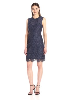 Anne Klein Women's Illussion Yoke Crepe and Lace Combo Dress