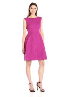 Anne Klein Women's Inverted Pleat Skirt Jacquard Dress