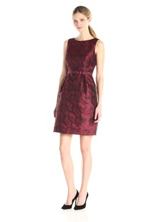 Anne Klein Women's Jacquard Boat Neck Fit and Flare Dress with Belt
