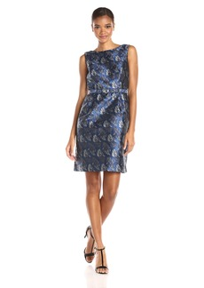 Anne Klein Women's Jacquard Boat Neck Fit and Flare with Belt