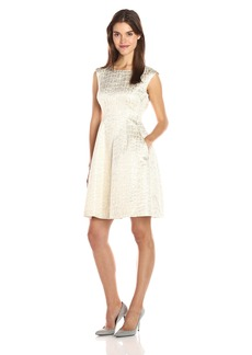 Anne Klein Women's Jacquard Inverted Pleat Fit and Flare