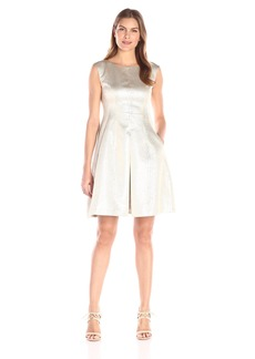 Anne Klein Women's Jacquard Inverted-Pleat Metallic Fit-And-Flare Dress