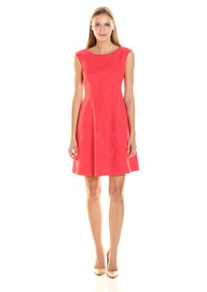 Anne Klein Women's Jacquard Jewel Neck Fit and Flare