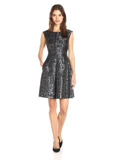 Anne Klein Women's Jacquard Pleat Fit and Flare