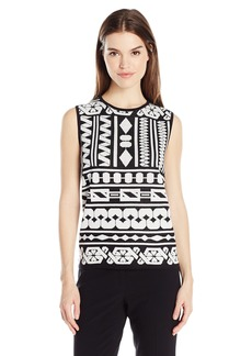 Anne Klein Women's Jacquard Sweater Tank  L