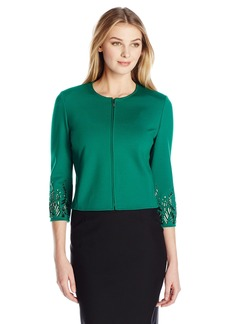 Anne Klein Women's Jewel Sleeve Zip Front Ponte Jacket