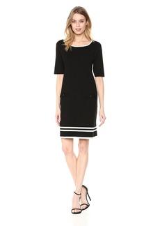 Anne Klein Women's Knit 2 Pocket Shift Dress  L