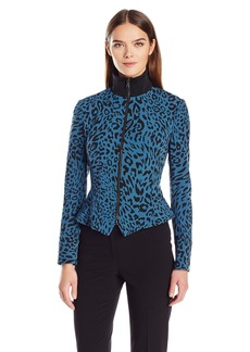 Anne Klein Women's Knit Collar Animal Zip Front Jacket