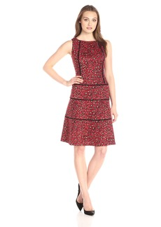 Anne Klein Women's Knit Jacquard Boat Neck Drop Waist Fit and Flare Dress