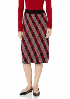 Anne Klein Women's Knit Plaid Pencil Skirt Anne Black/Titian RED Combo