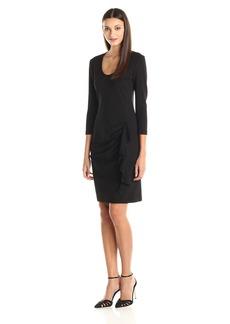 Anne Klein Women's Knit Scoop Neck Dress with Side Ruffle