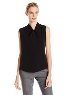 Anne Klein Women's Knit Sleeveless Bow Blouse